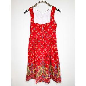Vintage Johanna Rappel Red Paisley Pleated Dress